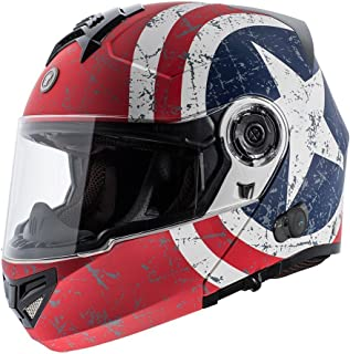 TORC T27B1 FWT RS XL T27B Full Face Modular Helmet with Blinc Bluetooth (Rebel Star, Large)