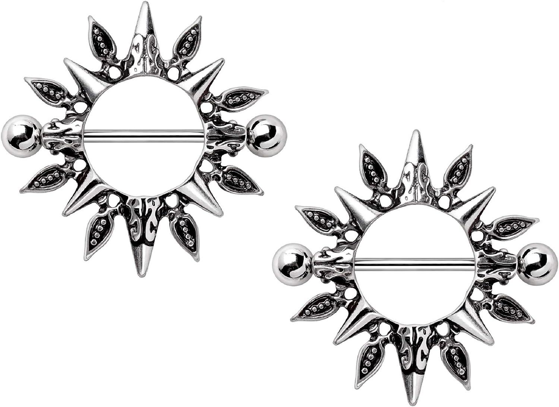 Stainless Steel Tribal Sun Nipple Shields, Sold as Pair