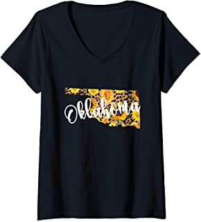 Womens Oklahoma Sunflower Leopard Print Wildflower State Map V-Neck T-Shirt