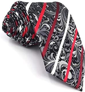 SHLAX&WING Ties for Men Designer Geometric Silk Neckties Red Black White Wedding