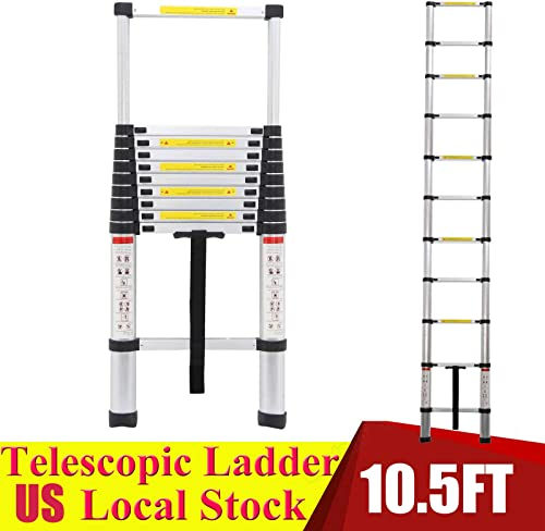 discount 10.5ft new arrival Aluminium Telescoping Ladder Extension Anti-Slip Steps with Safety Locking System lowest 330lb Max Capacity online sale