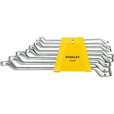 STANLEY 70-394E Chrome Matte Finish Shallow Offset BI HXRing Spanner Set (Pack of 8)
