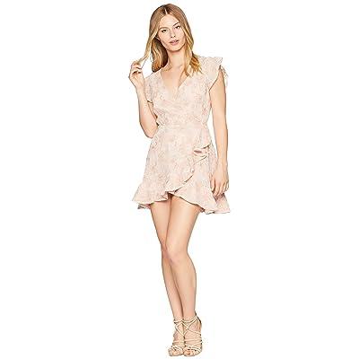 BB Dakota RSVP Karlie Lace Ruffle Faux Wrap Dress (Pink Blossom) Women