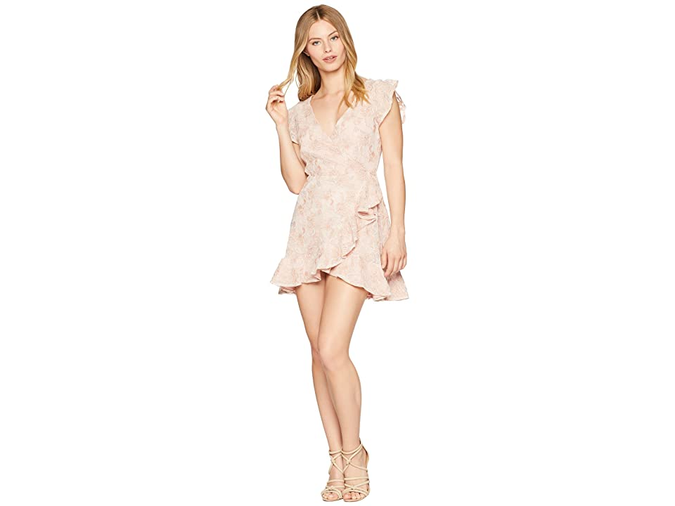 BB Dakota RSVP Karlie Lace Ruffle Faux Wrap Dress (Pink Blossom) Women
