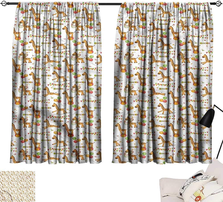 Jinguizi Privacy Assured Window Treatment Darkening Curtains Giraffe,Playful Cartoon Circus,Party Curtain Kids W55 x L63