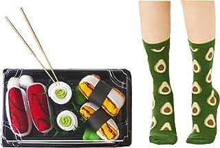 MOKIE, Pack de 4 pares calcetines Drôle – Calcetines talla única para mujer, hombre, novedad, menú, calcetines sanitarios de sushi y aguacate, pack completo, regalo creativo