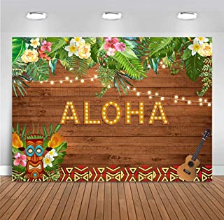 MMY 7x5ft Aloha Party Backdrop Summer Tropical Hawaiian Luau Flowers Wooden Sculpture Floral Prom Decoration Background Happy Birthday Baby Shower Banner Supplies Photo Booth Props