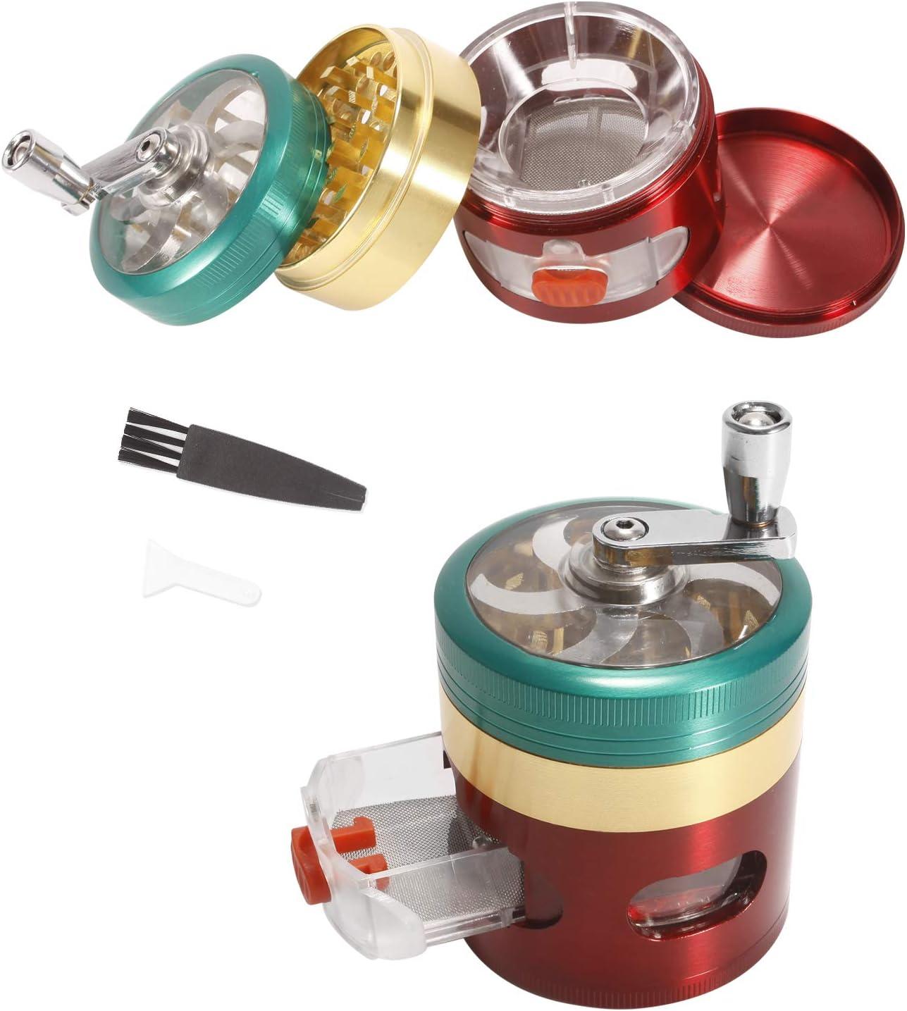 Insputer Grinder Molinillos Grinder de 4 Piezas de Zinc Molinillo de Aleación Vaporizador Especia Secas con Cubierta Magnética Molinillos Portátil(Color)