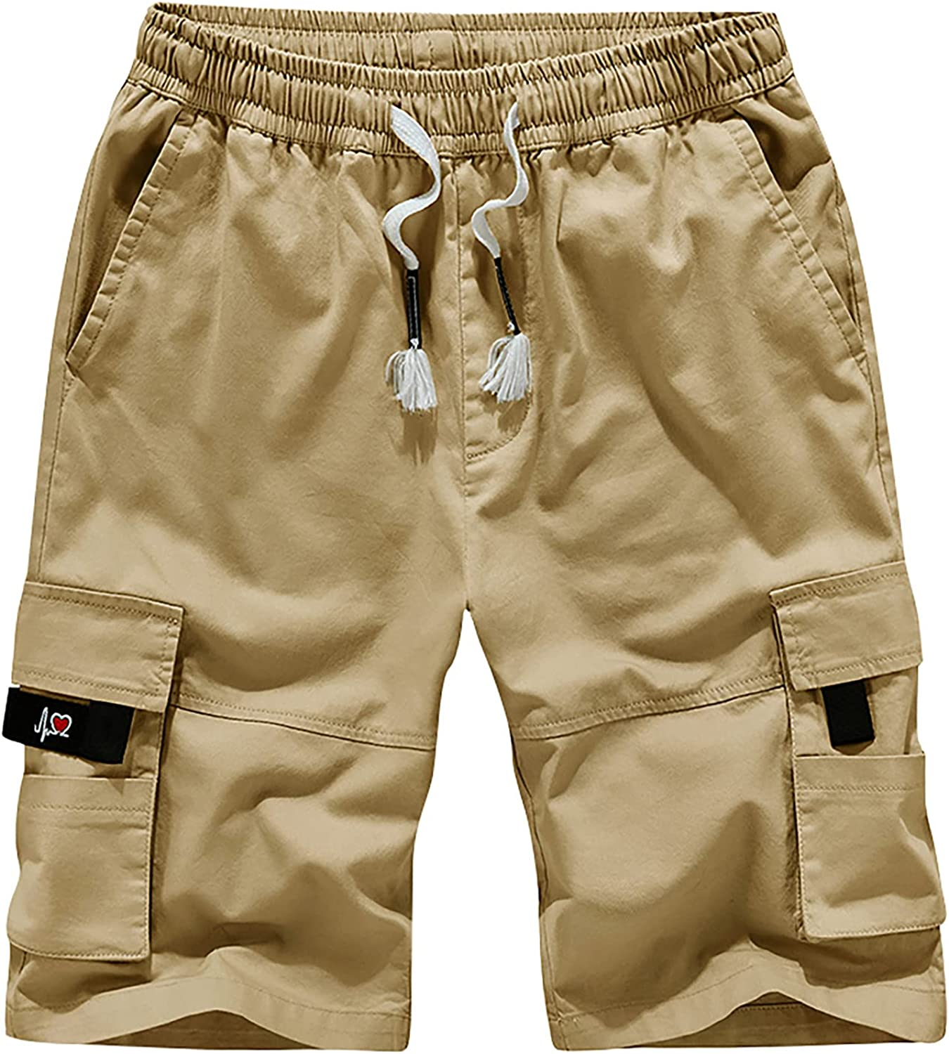 Men's Five-Point Shorts Drawstring Overalls Pants Cotton Running Shorts Casual Breathable Outdoor Pants Cargo Shorts