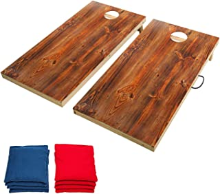 OOFIT Regulation Size 2' x 4' Solid Wood Cornhole Set,Bean Bag Toss Game Set with 8 Corn Hole Bags