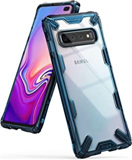 "Ringke Fusion-X Designed for Galaxy S10 Plus (6.4"") Case, Built in Dot Matrix Rear PC Anti-Cling Renovated Bumper Military Drop Tested Defense Double Protection for Galaxy S10 Plus - Space Blue"