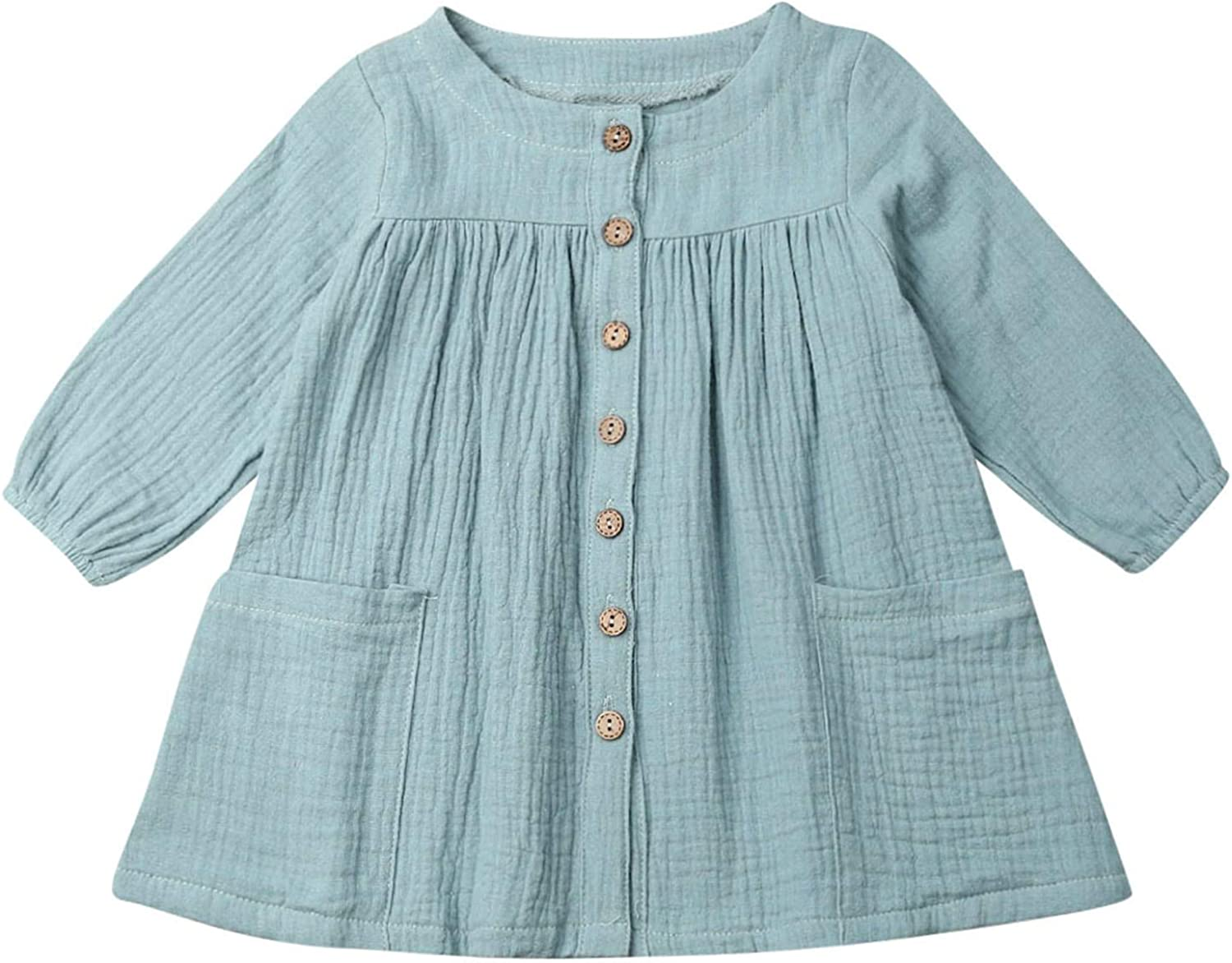Toddler Baby Girl Fall Basic Plain Max 49% OFF Linen New Shipping Free Shipping Sleeve Cotton Long Bell
