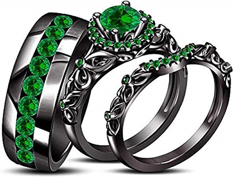 Cast Crafts 14K Black Time sale Gold Plated Trio Bridal We Emerald Overseas parallel import regular item Green