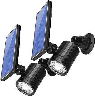 AMIR Solar Spotlight, Upgraded Motion Sensor Lights Outdoor, 800 lumens 8 LED Landscape Lighting with 4 Modes, Waterproof Solar Security Lights for Garage Porch Patio Garden Driveway Pathway (2 Pack)