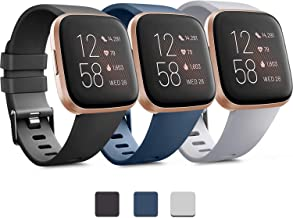 Pack 3 Soft Silicone Bands for Fitbit Versa 2 / Fitbit Versa/Fitbit Versa Lite Classic Adjustable Sport Bands for Women Me...