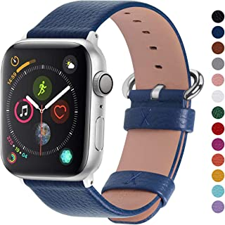 Fullmosa Compatible Apple Watch Band 38mm 40mm 42mm 44mm Calf Leather Compatible iWatch Band/Strap Compatible Apple Watch Series 5 Series 4 Series 3 Series 2 Series 1,38mm 40mm Dark Blue