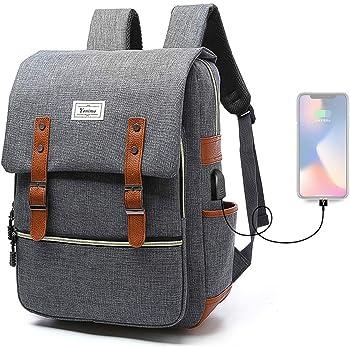 Lcsriya バックパック USBポート リュックサック 大容量 耐衝撃 PCバッグ USBコード付き 15.6インチ 通勤 通学 旅行 出張 男女兼用 多機能リュック (灰色)