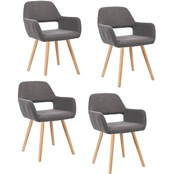 MCTECH® 4er Esszimmerstühle Besucher Stuhl Esszimmerstuhl Wohnzimmerstuhl Stuhlgruppe Bürostuhl Konferenzstühle Küchenstuhl Armlehne (Grau)