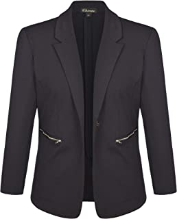 Chicwe Women's Plus Size Stretch Solid Work Blazer Suit Jacket with Metal Zipper