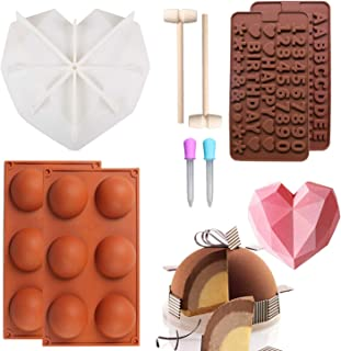 Silicone Chocolate Cake Molds Diamond Heart Shape with Wooden Hammers Pounding Toy and Letters Happy Birthday/Numbers Molds