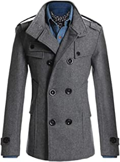 Men Woolen Slim Fit Double-Breasted Business Jackets Overcoat Trench Suits Coat