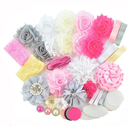 1824936c9c BERON 41 Pcs Headbands and Clips DIY Headand Kit Baby Shower Games Party  Supplies for DIY