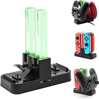 [新バージョン] Nintendo Switch ProコントローラーとJoy-Cons用充電器スタンド、Anikks二つのType-C USBポートと一つのType-C USB充電ケーブル付きのニンテンドー スイッチPro コントローラーとジョイコン用の充電スタンド
