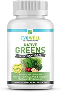 EVOWELL Native Greens Superfoods/Greens Tablets, 90 Count