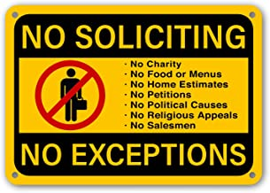 """No Soliciting Sign No Exceptions Front Door Home Business Security Fence Signs 11""""x 7"""" Rust Free Outdoor Waterproof Fade Resistant UV Protective Ink Yard Sign Made in USA!"""