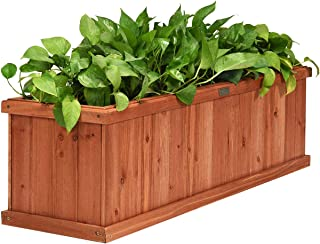 Giantex Raised Garden Bed Flower or Vegetable Planter Window Mounted Plant Box for Garden, Yard Wood Box for Planting (40
