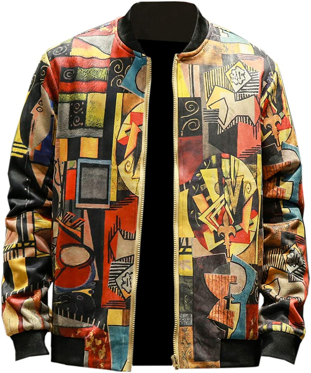 EMAOR Mens Casual Slim Fit Printed Jacket Coat (Lightweight Style & Cotton Padded Style)