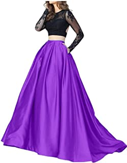 Women's Two Pieces Sheer Long Sleeve Cocktail Dress Formal Evening Gown