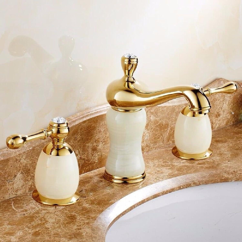 LHbox Basin Mixer Tap Bathroom Sink Faucet All copper antique continental 3 holes basin mixer jade gold basin Double Handle faucet and cold water 3-piece set