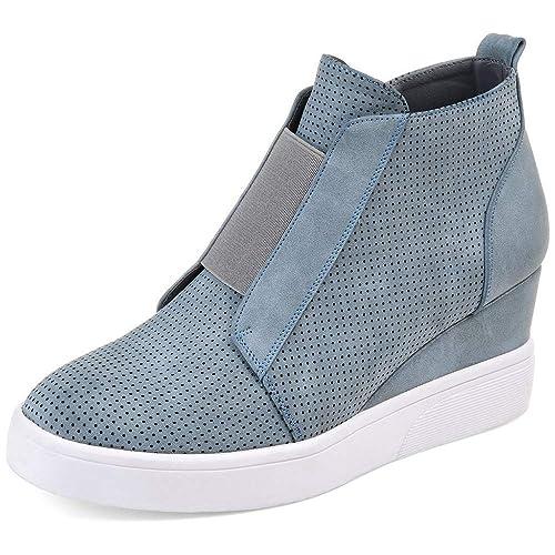 FIRENGOLI Womens Wedges Fashion Sneakers Side Zipper High Top Platform Booties Flat Shoes