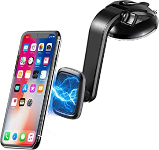 STOON Car Phone Mount, 360°Rotation Magnetic Phone Holder for Car, Universal Dashboard Windshield Car Phone Holder with Sticky Suction Cup & Adjustable Arm & 6 Strong Magnets, Fit for All Cell Phone
