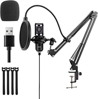 USB Condenser Microphone, ATOKIT Professional PC Streaming Cardioid Mic Kit 192kHz/24 bit with Boom Arm, Shock Mount, Pop Filter and Windscreen, for YouTube Podcast Karaoke Gaming Recording Singing