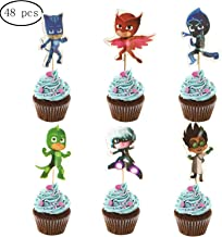 48PCS PJ Masks Cupcake Toppers for Kids Birthday Party Cake Decoration