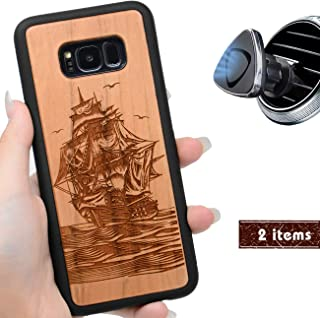 iProductsUS Wood Phone Case Compatible with Samsung Galaxy S8, Engraved Cool Pirate Boat, Built-in Metal Plate, TPU Rubber Shockproof Covers (S8, 5.8 inch)