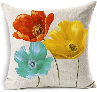 Enchanting Beautiful Tricolor Red Yellow Blue Poppy Flowers Gift Anniversary Day Present Cotton Linen Throw Pillow Case Cu...