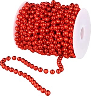 50 Feet Christmas Tree Beads Artificial Pearls Beads String Garland Plastic Beads Roll for Christmas Wedding DIY Decoration Supplies (Red)