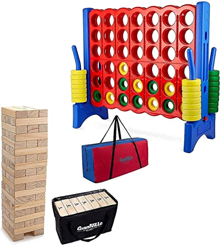 popular Giant online Tumbling Timber Blocks Toy with Storage Bag + Giant 4 outlet online sale in a Row with Carry Bag - Extra Jumbo Oversized Floor Games - Life Size Backyard Toys for Kids and Adults online sale