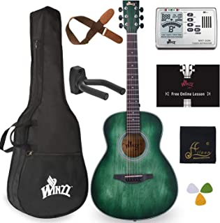 WINZZ 3/4 بسته گیتار آکوستیک با کیف ، تیونر مترونوم ، آویز دیواری ، بند ، انتخاب