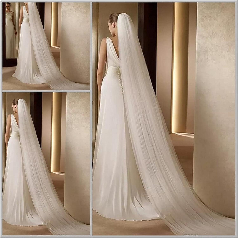 HAQTXI Wedding Veil Simple Length Bridal Veil with Comb Wedding Veil Elegant Wedding Accessories White Ivory (Color : 3 Layer-White)