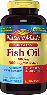 Nature Made Burpless Fish Oil 1000mg Softgels, 320 count