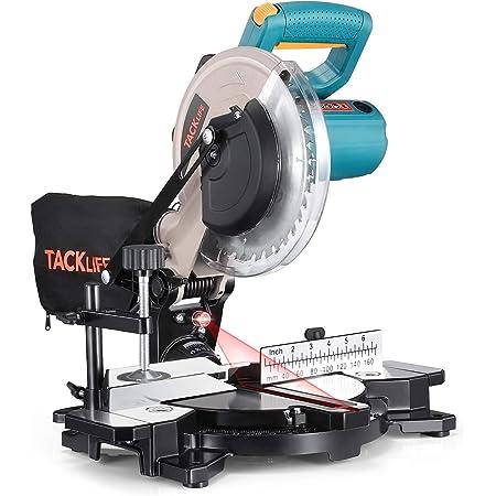 TACKLIFE 卓上丸ノコ 丸のこ 1200W 木材/軟質金属/合板の切断 レーザーガイド 左右45度 角度調節可能( -45°-0°-45°)集じんバック マイターソー テーブルソー 丸ノコ PMS02X