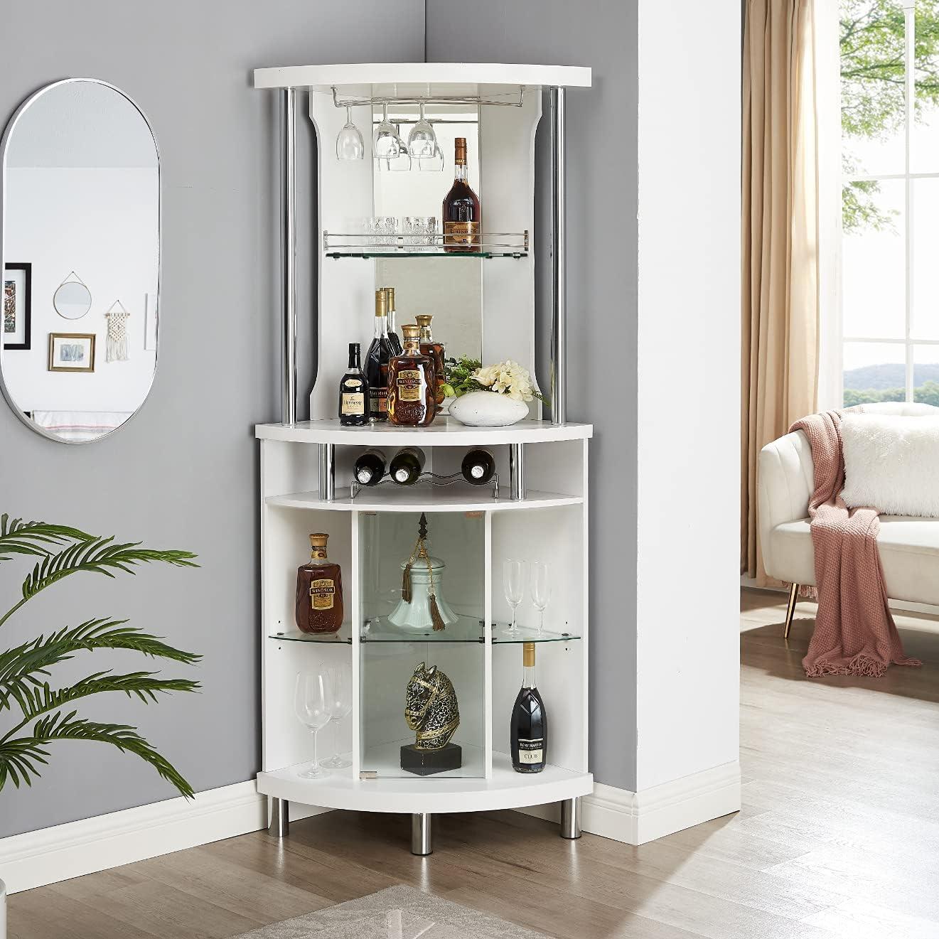 Home Source White Corner Bar