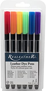 Realeather Basic Colors Dual Tip Leather Dye Pens (6 Pack)