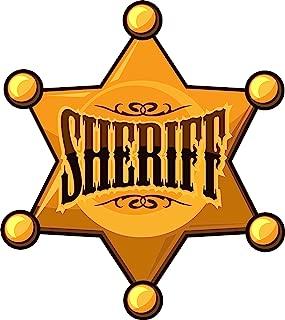 EW Designs Cool Simple Golden Sheriff Star Badge Cartoon Icon Vinyl Decal Bumper Sticker (4