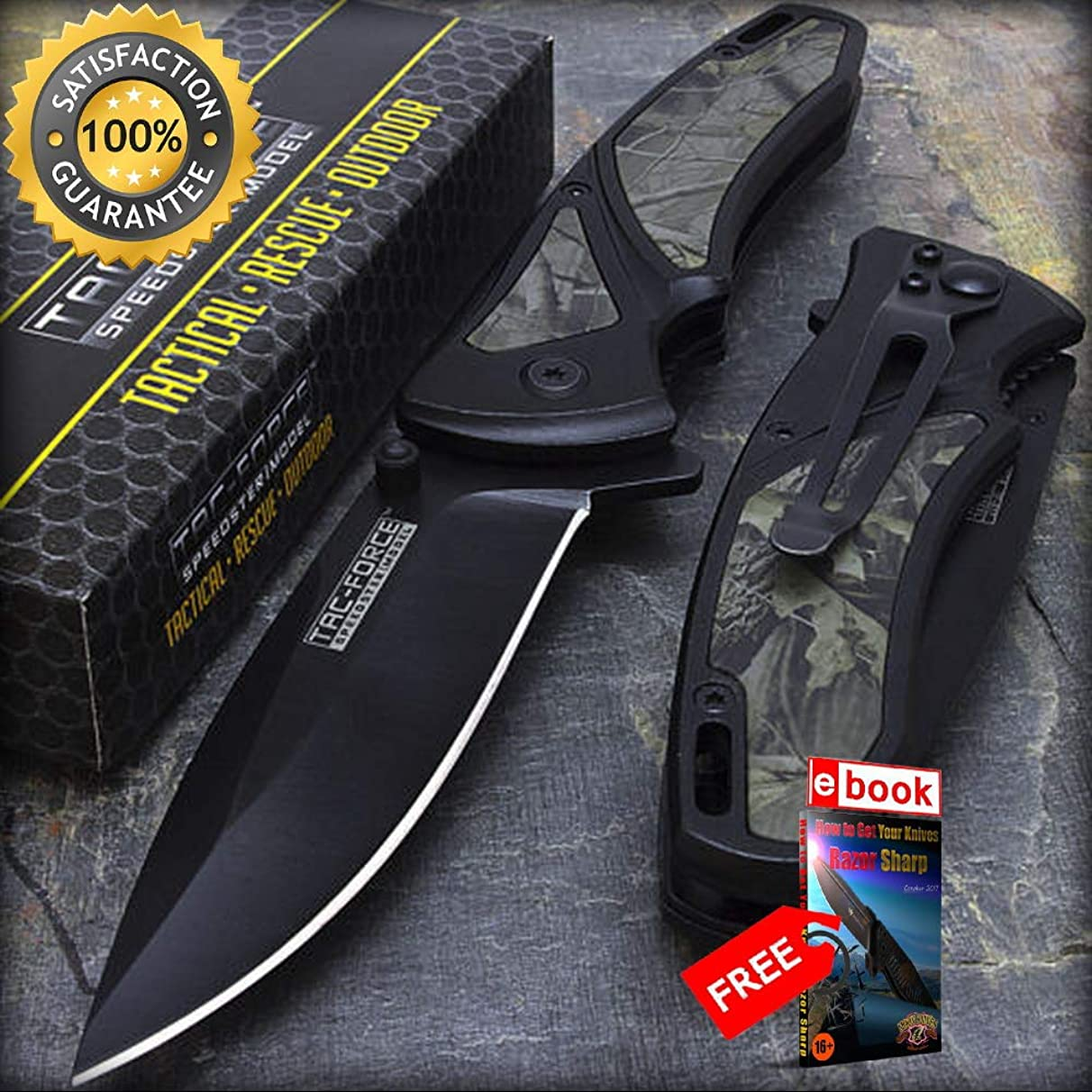 8'' TAC FORCE EDC WOODLAND CAMO INLAY SPRING ASSISTED TACTICAL POCKET KNIFE Razor Sharp Blade Combat Tactical Knife + eBOOK by Moon Knives