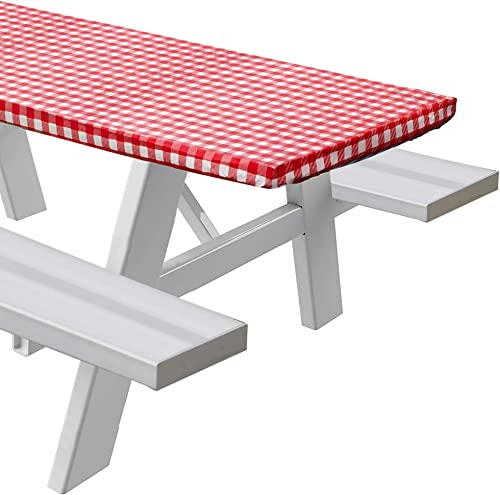 """wholesale Sorefy Vinyl outlet sale Fitted Picnic Table Cover, Checkered Design, Flannel Backed outlet sale Lining, 30"""" x 60"""" Red online sale"""